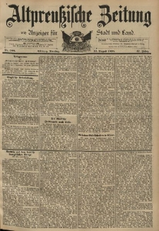 Altpreussische Zeitung, Nr. 188 Dienstag 13 August 1895, 47. Jahrgang