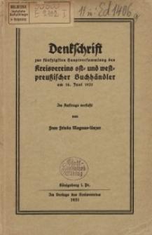 Denkschrift zur fünfzigsten Hauptversammlung des Kreisvereins ost- und westpreußischer Buchhändler am 14. Juni 1931