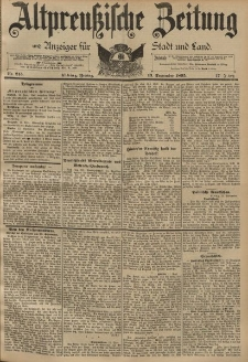 Altpreussische Zeitung, Nr. 215 Freitag 13 September 1895, 47. Jahrgang
