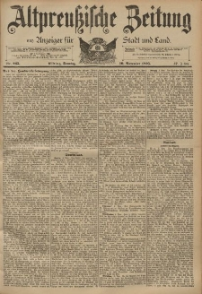 Altpreussische Zeitung, Nr. 265 Sonntag 10 November 1895, 47. Jahrgang