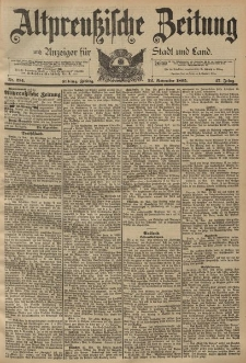 Altpreussische Zeitung, Nr. 274 Freitag 22 November 1895, 47. Jahrgang