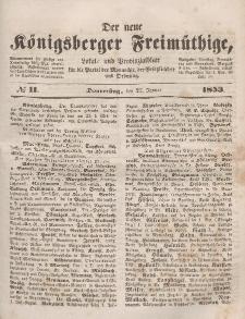 Der neue Königsberger Freimüthige, Nr. 11 Donnerstag, 27 Januar 1853