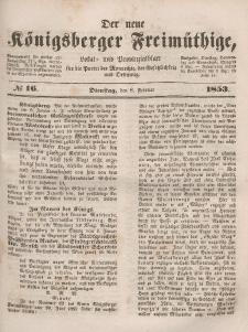 Der neue Königsberger Freimüthige, Nr. 16 Dienstag, 8 Februar 1853