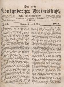 Der neue Königsberger Freimüthige, Nr. 30 Sonnabend, 12 März 1853