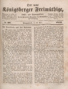 Der neue Königsberger Freimüthige, Nr. 36 Sonnabend, 26 März 1853