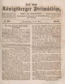 Der neue Königsberger Freimüthige, Nr. 38 Donnerstag, 31 März 1853