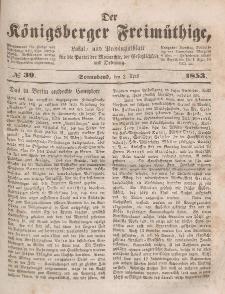 Der Königsberger Freimüthige, Nr. 39 Sonnabend, 2 April 1853