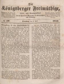 Der Königsberger Freimüthige, Nr. 40 Dienstag, 5 April 1853