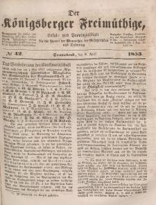 Der Königsberger Freimüthige, Nr. 42 Sonnabend, 9 April 1853