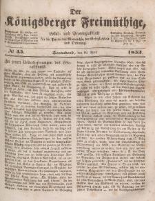 Der Königsberger Freimüthige, Nr. 45 Sonnabend, 16 April 1853