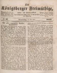 Der Königsberger Freimüthige, Nr. 47 Donnerstag, 21 April 1853