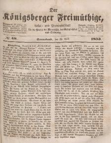 Der Königsberger Freimüthige, Nr. 48 Sonnabend, 23 April 1853