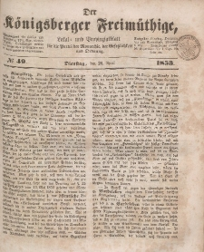 Der Königsberger Freimüthige, Nr. 49 Dienstag, 26 April 1853