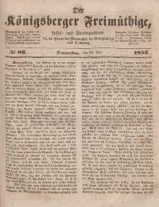 Der Königsberger Freimüthige, Nr. 86 Donnerstag, 21 Juli 1853