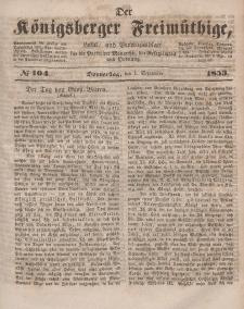 Der Königsberger Freimüthige, Nr. 104 Donnerstag, 1 September 1853