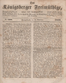 Der Königsberger Freimüthige, Nr. 108 Sonnabend, 10 September 1853