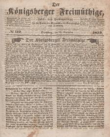 Der Königsberger Freimüthige, Nr. 112 Dienstag, 20 September 1853