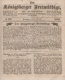Der Königsberger Freimüthige, Nr. 115 Dienstag, 27 September 1853