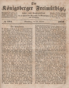 Der Königsberger Freimüthige, Nr. 124 Dienstag, 18 Oktober 1853