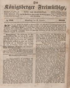 Der Königsberger Freimüthige, Nr. 151 Dienstag, 20 Dezember 1853