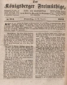 Der Königsberger Freimüthige, Nr. 154 Donnerstag, 29 Dezember 1853