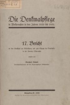 Die Denkmalpflege in der Provinz Westpreußen in den Jahren 1920 bis 1931