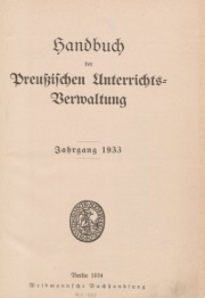 Handbuch der Preußischen Unterrichtsverwaltung, Jahrgang 1933