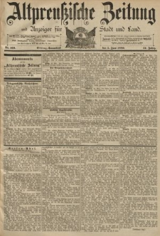 Altpreussische Zeitung, Nr. 126 Sonnabend 1 Juni 1889, 41. Jahrgang