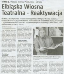 Elbląska Wiosna Teatralna - Reaktywacja