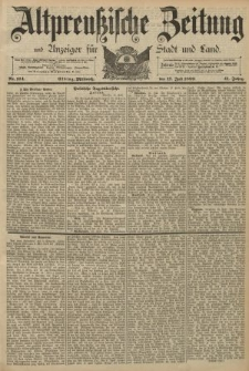 Altpreussische Zeitung, Nr. 164 Mittwoch 17 Juli 1889, 41. Jahrgang