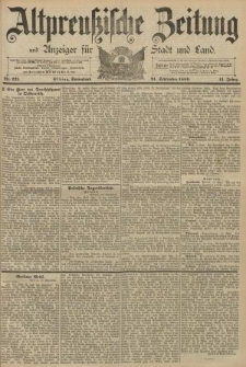 Altpreussische Zeitung, Nr. 221 Sonnabend 21 September 1889, 41. Jahrgang