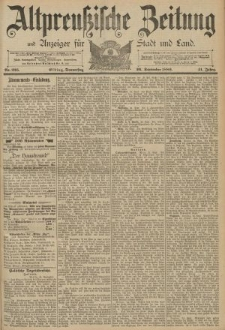 Altpreussische Zeitung, Nr. 225 Donnerstag 26 September 1889, 41. Jahrgang
