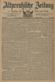 Altpreussische Zeitung, Nr. 296 Mittwoch 18 Dezember 1889, 41. Jahrgang