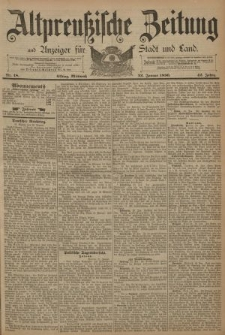 Altpreussische Zeitung, Nr. 18 Mittwoch 22 Januar 1890, 42. Jahrgang