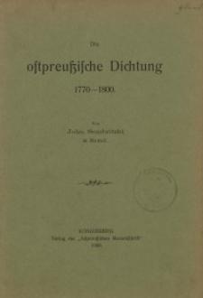 Die ostpreussische Dichtung 1770-1800
