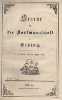 Statut für die Kaufmannschaft zu Elbing