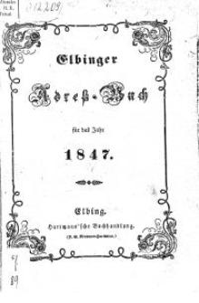 Elbinger Adress-Buch für das Jahr 1847