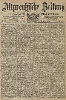 Altpreussische Zeitung, Nr. 194 Donnerstag 21 August 1890, 42. Jahrgang