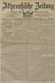 Altpreussische Zeitung, Nr. 199 Mittwoch 27 August 1890, 42. Jahrgang