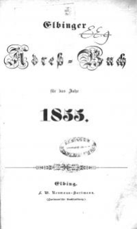 Elbinger Adress-Buch für das Jahr 1855