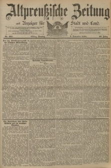 Altpreussische Zeitung, Nr. 263 Sonntag 9 November 1890, 42. Jahrgang