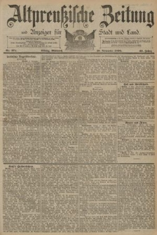 Altpreussische Zeitung, Nr. 271 Mittwoch 19 November 1890, 42. Jahrgang