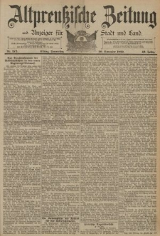 Altpreussische Zeitung, Nr. 272 Donnerstag 20 November 1890, 42. Jahrgang