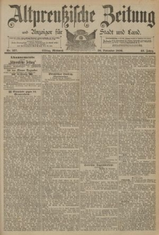 Altpreussische Zeitung, Nr. 277 Mittwoch 26 November 1890, 42. Jahrgang