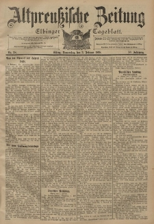 Altpreussische Zeitung, Nr. 28 Donnerstag 3 Februar 1898, 50. Jahrgang