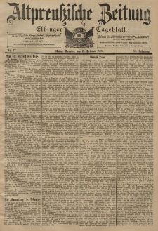 Altpreussische Zeitung, Nr. 36 Sonnabend 12 Februar 1898, 50. Jahrgang