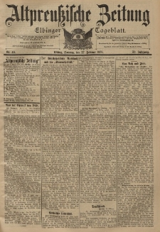 Altpreussische Zeitung, Nr. 49 Sonntag 27 Februar 1898, 50. Jahrgang