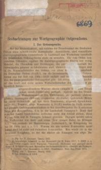 Beobachtungen zur Wortgeographie Ostpreussens. I. Zur Ordenssprache