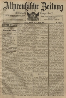 Altpreussische Zeitung, Nr. 197 Mittwoch 24 August 1898, 50. Jahrgang