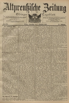 Altpreussische Zeitung, Nr. 258 Donnerstag 3 November 1898, 50. Jahrgang